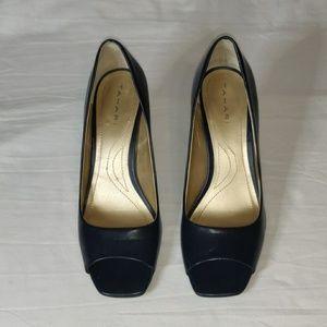"""Tahari Navy Blue Open Toe 2"""" Heels"""